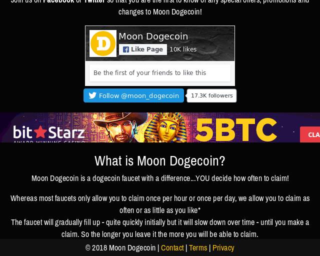 Moon Dogecoin Ist Ein Faucet Zum Gratis Dogecoin Verdienen