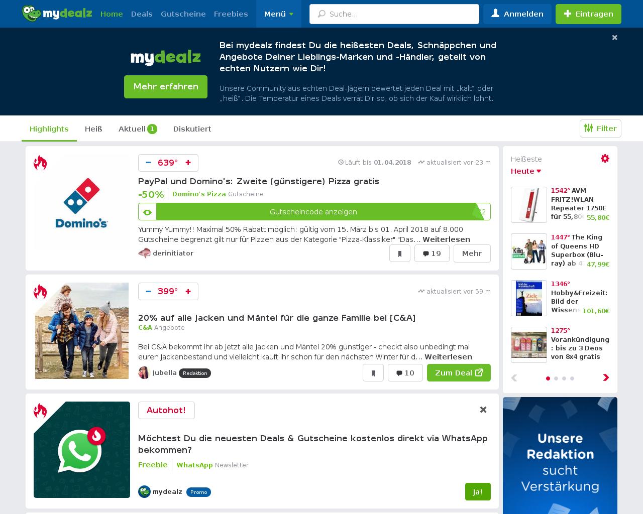 01f206552d9e85 MyDealz ist ein Gutschein-Portal zum Geld sparen