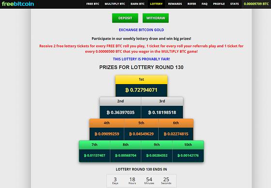 Die Lotterie bei FreeBitco.in bietet hohe Gewinne